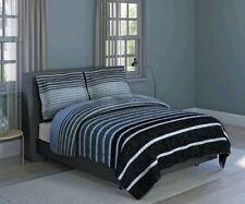 Harper Stripe, Soft Microfiber, Grey, 3-piece Comforter Set Inspired