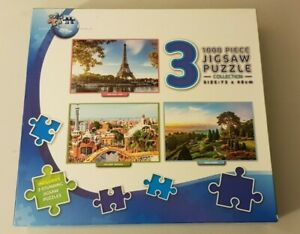 JIGSAW Puzzle World 3x1000 Pieces Paris Barcelona Manor Gardens Checked COMPLETE