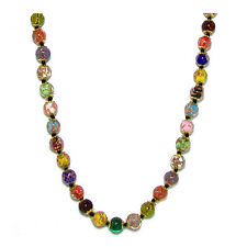 Venice Murano Aventurina Glass Bead Strand Necklace in Multi-color, 18""