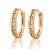 Yellow gold finish created diamond  Hoop huggie Earrings
