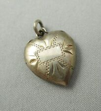 Etched Puffy Heart Charm #4776E Vintage Victorian Sterling Silver Engraveable