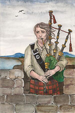 ACEO RYTA PRINT OF PAINTING PIPER CASTLE CROW SCOTLAND BAGPIPES LANDSCAPE UK ART