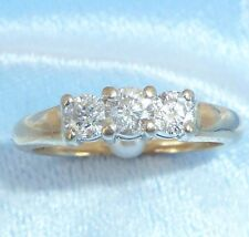 Vintage 14K Yellow  Gold Band With 3 Diamonds Size 6.75