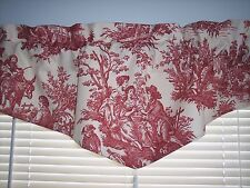 NEW~RED~Waverly Country Life Toile~Ascot V-Shaped With Tassel VALANCE CURTAINS
