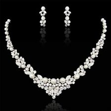 Bridal Wedding Necklace Earring Set Clear Swarovski Crystal White Pearl