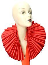 Ruffled Collar Red Satin Huge Tall Wide Elizabethan Neck Ruff Victorian Steampnk