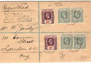 SIERRA LEONE SG.122 Cover Registered Freetown Scarce 10d Stamp Dealer 1919 PB274
