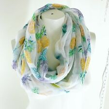 Womens Infinity White Scarf Pineapple Print Tropical New
