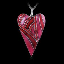 Hot Vintage Red Heart Love Pendant Necklace Women Long Sweater Chain Jewellery