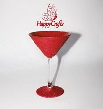 Glitter Sparkle Cocktail Martini Glass Red