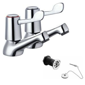 Disabled lever basin taps Hot & Cold & Basin Plug and chain Sink Basin Waste