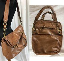 "Nine West Brown Vintage Crinkle Vegan Faux Leather Folding Bag 13.5 x 14 x 3"""