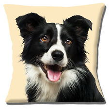 Border Collie Dog Cushion Cover 16 inch 40cm Close Up Photo Print Black White
