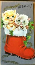 Vtg Xmas Card Cute Kittens In Santas Boot Mica Garland Holly ~020