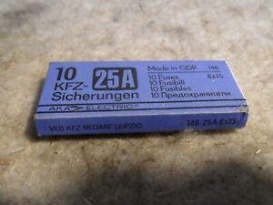 unbenutzter Satz DDR 10 Stk. KFZ Sicherungen 25A 6x25 Trabant Wartburg Barkas MZ