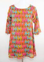 JUDITH MARCH Size S - MULTI COLORED ELEPHANT PRINT SHIFT DRESS - Open Back Mini