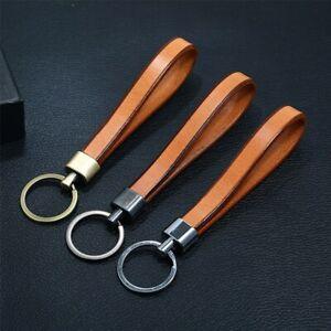 Vintage Handmade Leather Keychain Simple Alloy Keyring Car Accessories Key Chain