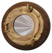 BRASS  SHINNING FINISH  Porthole Round Mirror WITH WOOD BASE REPLICA