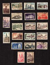 20 France Postal Stamps Architecture Castle Chateau Building Collection