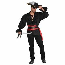 Pirates Mens Deluxe Shirt Captain Buccaneer Adults Fancy Dress Costume Accessory