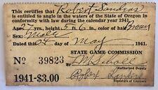 License State Of Oregon General Fishing Robert Sanders Hubbard 1941