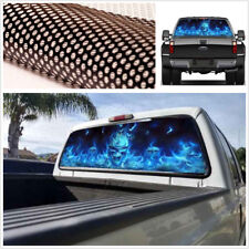 135cm X 36cm Large Size Car SUV Rear Windshield Blue Flaming Skull Decal Sticker