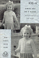 ~ Vintage 1940's Patons & Baldwins Knitting Pattern For Toddler's Lacy Twinset ~