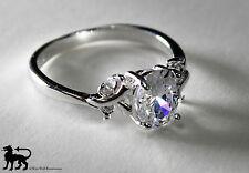 Silver Royal Princess Ring - US Size 7 -- medieval/England/Engagement/crystal