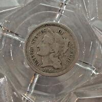FINE 1865-P UNTED STATES NICKEL THREE CENT.....#13201