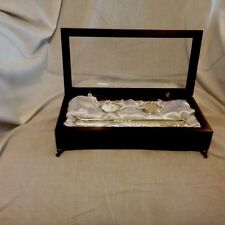 Rosewood Wood Case Silk Lined Silver Containers For Babys Keepsakes.