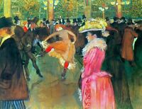 Ball in the Moulin Rouge by Toulouse Lautrec Giclee Print Repro on Canvas