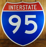INTERSTATE 95 I-95 RED WHITE BLUE SHIELD SHAPE TRANSPORTATION METAL ADV SIGN