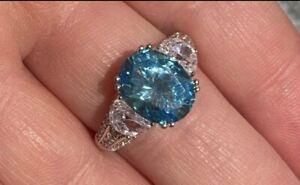 7CT Round Cut Blue Topaz Diamond Accent & Pave Rhodium Finish Silver Ring S8