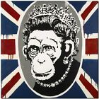 "BANKSY STREET ART CANVAS PRINT Monkey Queen England flag 24""X 18"" stencil poster"