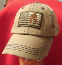 USA Spartan Flag Unstructured Hat Low Profile Cotton Khaki Cap SPARTAN FLAG