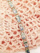 Flower Panel Link Bracelet Jewelry Vintage Dainty Art Deco Enamel Floral