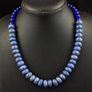 395 Cts Earth Mined Single Strand Sapphire & Iolite Beads Necklace JK 01E340