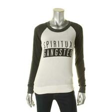 SPIRITUAL GANGSTER WOMENS KNIT LOGO CASUAL TOP Size S