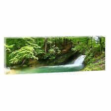 Panorama Leinwand Bild Natur Wald Landschaft  XXL 120 cm* 40 cm Wasserfall 694