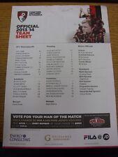 08/04/2014 COLORI teamsheet: Bournemouth V lettura (piegato, piegato). grazie per