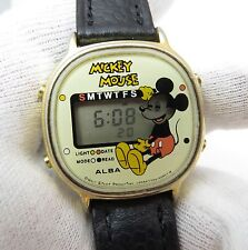 MICKEY MOUSE,Seiko,Disney,Rare Drytan, 1980s, Day, Light, #07425 MENS WATCH,1941