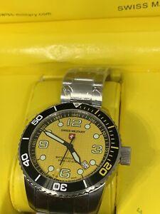 CX Swiss Military MARLIN Swiss watch 20ATM S/Steel bracelet Yellow dial S/2973