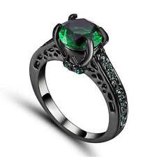 Vintage  Green Emerald Wedding Ring  Black Rhodium Plated Jewelry Size 6