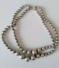 STERLING SILVER GRADUATED BEADS NECKLACE  2 Strands x 13 INCHES BOX CLASP
