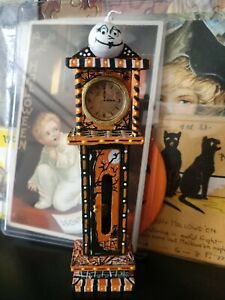 """Dollhouse Miniature Hand Painted Halloween Grand Father Clock Ghost Story 5"""""""