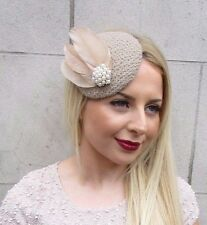 Beige Light Brown Mocha Feather Pillbox Hat Fascinator Hair Clip Vintage 2606
