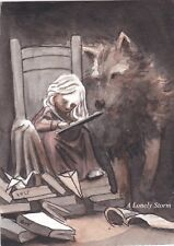 ACEO PRINT Watercolor Seated Girl and Wolf Origami Books Imagination