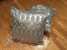 "KENSIE HOME 18"" AQUA BLUE-SILVER DECORATIVE PILLOWS"
