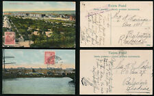 ARGENTINA to RHODESIA 1912 PPCs PORT FRUIT DOCK + RAILWAY...2 CARDS