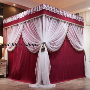 summer netting for bed double layers lace valance mosquito net bed canopy new